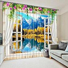 Sproud 3D-Drucken Sonnenschutz Fenster Vorhang Für Büro Schlafzimmer Wohnzimmer Vorhänge Dreidimensionale Landschaft Cortians-260Cmx300Cm