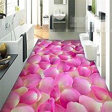Sproud 3D-Stock Malerei Moderne Aufkleber Badezimmer Romantisch rosa Blütenblätter Rutschhemmend wasserdicht Verdickung Selbstklebende 300cmx210cm