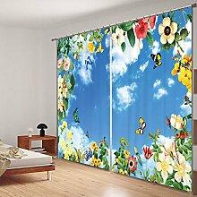 Sproud Blumen Und Schmetterlinge Drucken Verdunkelungsvorhänge Wohnzimmer Hotel Vorhänge Cortians Sonnenschutz Fenster Vorhang 3D-Vorhänge-260Cmx300Cm