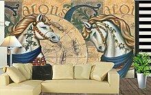 Sproud Custom 3D Pferd Tapete im Europäischen Stil klassische Pferd für das Wohnzimmer Tv Hintergrund Wand wasserdichtes Gewebe Papel De Pared 300cmx210cm