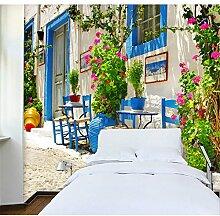 Sproud Fototapete mediterrane Architektur 3D Wandbild Tapete Hintergrundmotiv Hotel Cafe Bar Wandbild Papier 350 cmX 245 cm