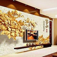 Sproud Hot Sale 3D Wallpaper Chinesische Element Im Klassischen Stil Wandbild Tapete Mit Blumen Aus Holz Im Tv Hintergrund Schlafzimmer Wohnzimmer 350 Cmx 245 Cm