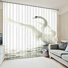 Sproud Kunst Vorhänge Swan Drucken Betten Wohnzimmer 3D Pferd Drucken Cortians Sonnenschutz Fenster Vorhänge Maßgeschneiderte Größe-240Cmx300Cm