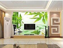 sproud Landschaftstapete Wandmalereien Bamboo Lotus Wassereffekte Custom 3D Foto Tapete Wand Dekoration 250 cmX 175 cm