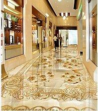 sproud Marmorrelief Golden Rose 3D Raum Tapete Fußboden 3D Stock Wallpaper Custom Photo Selbstklebende 3D Stock Seidentuch Wasserdicht, 300cmx210cm