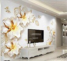 Sproud Modernes 3D Wallpaper Wandbild Seidentuch Papel De Parede Seidentuch 3D Schlafzimmer Tapete kurze Schmuck Blumen Tapeten für Wände 200 cmX 140 cm