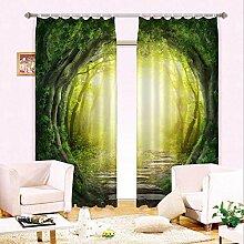 Sproud Superior Qualität Sonnenschutz Fenster Vorhang 3D-Wald Vorhang Für Büro Schlafzimmer Wohnzimmer Vorhänge Landschaft Cortians-260Cmx240Cm