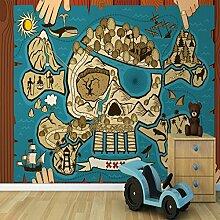 Sproud Wandbild Schatzkarte Kinder Tapete Wandbilder 3D Wallpaper Für Kind Schlafzimmer Großes Wandbild Papier Tapete Wohnzimmer Schlafzimmer 350 Cmx 245 Cm