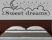 Spruch Sweet Dreams Wandaufkleber Kinderzimmer Schlafzimmer Wandtattoo 1D144, Farbe:Schwarz glanz;Motiv Länge:180cm