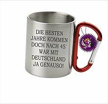 """Spruchtasse Funtasse Edelstahl Karabiner die besten Jahre kommen doch nach 45 … """" Bedruckte Tasse Becher für Kaffee Tee"""
