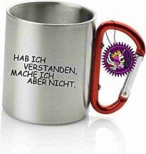 """Spruchtasse Funtasse Edelstahl-Karabiner Habe ich verstanden mach ich aber nicht … """" Bedruckte Tasse Becher für Kaffee Tee"""