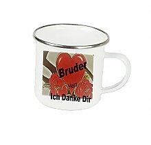"""Spruchtasse Funtasse Emaille Becher mit Silbernem Rand Bruder Herz ich danke dir … """" Fotogeschenke Tassen Becher für Kaffee Tee Emaille"""