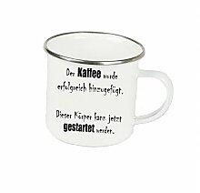 """Spruchtasse Funtasse Emaille Becher mit Silbernem Rand Der Kaffee wurde erfolgreich hinzugefügt und kann gestartet werden … """" Fotogeschenke Tassen Becher für Kaffee Tee Emaille"""