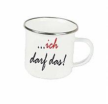 """Spruchtasse Funtasse Emaille Becher mit Silbernem Rand ich darf das … """" Fotogeschenke Tassen Becher für Kaffee Tee Emaille"""
