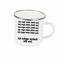 """Spruchtasse Funtasse Emaille Becher mit Silbernem Rand ich rege mich nicht auf … """" Fotogeschenke Tassen Becher für Kaffee Tee Emaille"""