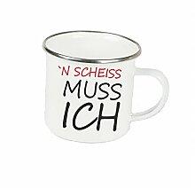 """Spruchtasse Funtasse Emaille Becher mit Silbernem Rand n scheiss muss ich 2 … """" Fotogeschenke Tassen Becher für Kaffee Tee Emaille"""