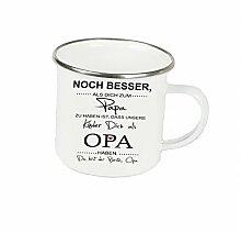 """Spruchtasse Funtasse Emaille Becher mit Silbernem Rand noch besser als dich zum papa zu haben … """" Fotogeschenke Tassen Becher für Kaffee Tee Emaille"""