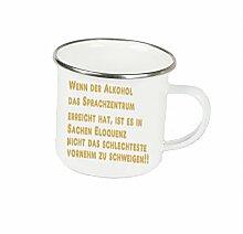 """Spruchtasse Funtasse Emaille Becher mit Silbernem Rand wenn der alkohol das Sprachzentrum erreicht hat … """" Fotogeschenke Tassen Becher für Kaffee Tee Emaille"""