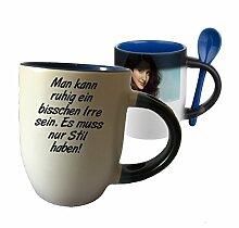 """Spruchtasse Funtasse Farbwechsel Blau Löffel Man kann ruhig ein bisschen Irre sein … """" Bedruckte Tasse Becher für Kaffee Tee"""