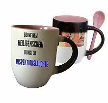 """Spruchtasse Funtasse Farbwechsel Rosa Löffel bei meinem Heiligenschein blinkt die Inspektionsleuchte … """" Bedruckte Tasse Becher für Kaffee Tee"""