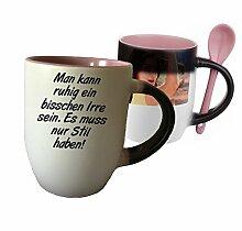 """Spruchtasse Funtasse Farbwechsel Rosa Löffel Man kann ruhig ein bisschen Irre sein … """" Bedruckte Tasse Becher für Kaffee Tee"""