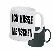 """Spruchtasse Funtasse Farbwechsel Schwarz Matt ich hasse menschen … """" Bedruckte Tasse Becher für Kaffee Tee"""