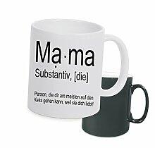 """Spruchtasse Funtasse Farbwechsel Schwarz Matt Mama Substantiv … """" Bedruckte Tasse Becher für Kaffee Tee"""