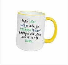"""Spruchtasse Funtasse Gelb Ring es gibt schöne Männer und es gibt intelligente Männer … """" Bedruckte Tasse Becher für Kaffee Tee"""