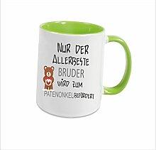 """Spruchtasse Funtasse Hellgrün voll nur der allerbeste Bruder wird zum Patenonkel befördert … """" Bedruckte Tasse Becher für Kaffee Tee"""
