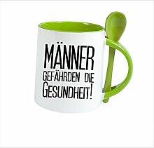 """Spruchtasse Funtasse Löffel Grün Männer gefährden die gesundheit! … """" Bedruckte Tasse Becher für Kaffee Tee"""