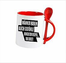 """Spruchtasse Funtasse Löffel Rot MÄNNER HABEN auch gefühle hunger zum beispiel … """" Bedruckte Tasse Becher für Kaffee Tee"""