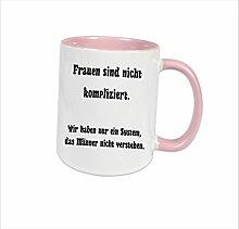 """Spruchtasse Funtasse Rosa voll Frauen sind nicht kompliziert, wir haben nur ein System, dass Männer nicht verstehen … """" Bedruckte Tasse Becher für Kaffee Tee"""