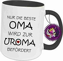 """Spruchtasse Funtasse Schwarz voll Nur die Beste Oma wird zur Uroma befördert … """" Bedruckte Tasse Becher für Kaffee Tee"""