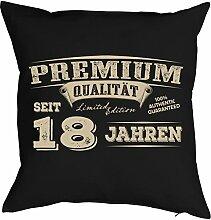 Sprüche-Kissen zum 18 Geburtstag - Geschenk-Idee Dekokissen 18 Jahre : Premium Qualität seit 18 Jahren -- Geburtstag 18 - Kissen ohne Füllung - Farbe: schwarz