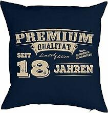 Sprüche-Kissen zum 18 Geburtstag - Geschenk-Idee Dekokissen 18 Jahre : Premium Qualität seit 18 Jahren -- Geburtstag 18 - Kissen ohne Füllung - Farbe: navyblau