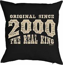 Sprüche-Kissen zum 18 Geburtstag - Geschenk-Idee Dekokissen Jahrgang 2000 : Original since 2000 the real king -- Geburtstag 18 Kissenbezug ohne Füllung - Farbe: schwarz