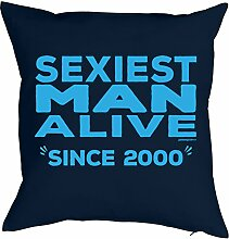Sprüche-Kissen zum 18 Geburtstag - Geschenk-Idee Dekokissen Jahrgang 2000 : Sexiest Man Alive since 2000 -- Geburtstag 18 Kissenbezug ohne Füllung - Farbe: navyblau