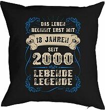 Sprüche-Kissen zum 18 Geburtstag - Geschenk-Idee Dekokissen Jahrgang 2000 : ..erst mit 18 Jahren seit 2000 Lebende Legende -- Geburtstag 18 Kissen Farbe: schwarz
