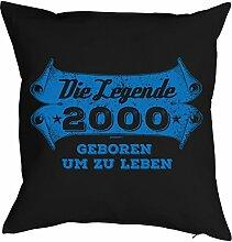 Sprüche-Kissen zum 18 Geburtstag - Geschenk-Idee Dekokissen Jahrgang 2000 : Die Legende 2000 geboren um zu leben -- Geburtstag 18 Kissen Farbe: schwarz