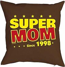 Sprüche-Kissen zum 20 Geburtstag - Geschenk-Idee Dekokissen Jahrgang 1998 : Super Mom since 1998 -- Geburtstag 20 Kissen Farbe: braun