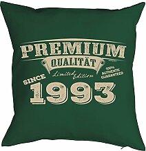 Sprüche-Kissen zum 25 Geburtstag - Geschenk-Idee Dekokissen Jahrgang 1993 : Premium Qualität since 1993 -- Geburtstag 25 Kissen Farbe: dunkelgrün