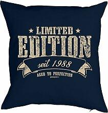 Sprüche-Kissen zum 30 Geburtstag - Geschenk-Idee Dekokissen Jahrgang 1988 : Limited Edition seit 1988 aged to perfection -- Geburtstag 30 Kissenbezug ohne Füllung - Farbe: navyblau