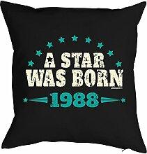Sprüche-Kissen zum 30 Geburtstag - Geschenk-Idee Dekokissen Jahrgang 1988 : A Star was born 1988 -- Geburtstag 30 Kissenbezug ohne Füllung - Farbe: schwarz