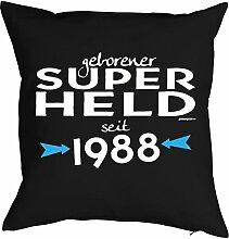 Sprüche-Kissen zum 30 Geburtstag - Geschenk-Idee Dekokissen Jahrgang 1988 : geborener Super Held seit 1988 -- Geburtstag 30 Kissen Farbe: schwarz