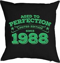 Sprüche-Kissen zum 30 Geburtstag - Geschenk-Idee Dekokissen Jahrgang 1988 : Aged to perfection Limited Edition since 1988 -- Geburtstag 30 Kissen Farbe: schwarz