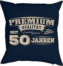 Sprüche-Kissen zum 50 Geburtstag - Geschenk-Idee Dekokissen 50 Jahre : Premium Qualität seit 50 Jahren -- Geburtstag 50 - Kissen mit Füllung - Farbe: navyblau