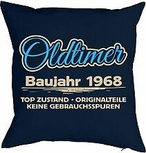 Sprüche-Kissen zum 50 Geburtstag - Geschenk-Idee Dekokissen Jahrgang 1968 : Oldtimer Baujahr 1968 Top Zustand .. -- Geburtstag 50 Kissen Farbe: navyblau