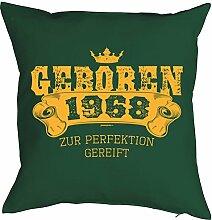 Sprüche-Kissen zum 50 Geburtstag - Geschenk-Idee Dekokissen Jahrgang 1968 : Geboren 1968 zur Perfektion gereift -- Geburtstag 50 Kissen Farbe: dunkelgrün