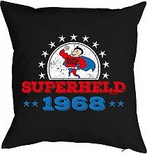 Sprüche-Kissen zum 50 Geburtstag - Geschenk-Idee Dekokissen Jahrgang 1968 : Superheld 1968 -- Geburtstag 50 Kissenbezug ohne Füllung - Farbe: schwarz