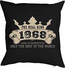 Sprüche-Kissen zum 50 Geburtstag - Geschenk-Idee Dekokissen Jahrgang 1968 : The Real King 1968 aged to perfection -- Geburtstag 50 Kissen Farbe: schwarz
